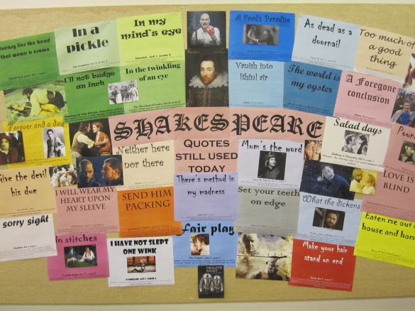 Shakespeare Quotes Still Used Today (Bulletin Board at Lawrence Tech Library)