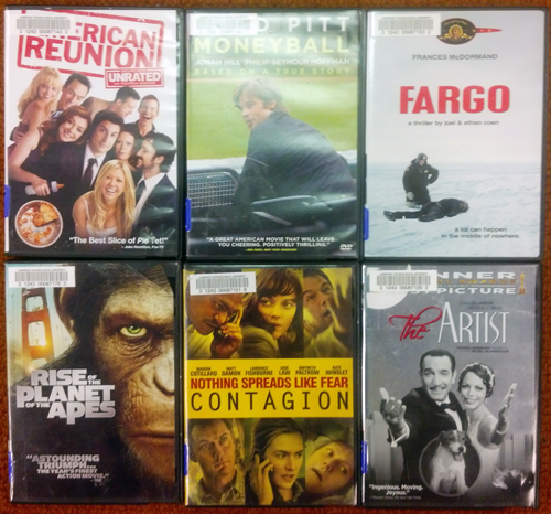 A selection of new movies at Lawrence Tech Library
